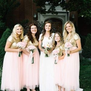 Sequin and tulle bridesmaids dresses pink and gold